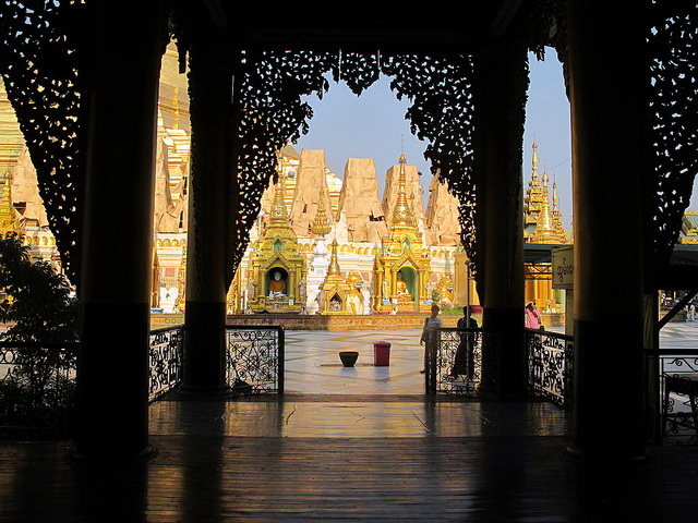 Shwedagon Pagoda from inside