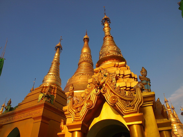 Shwedagon Pagoda towers